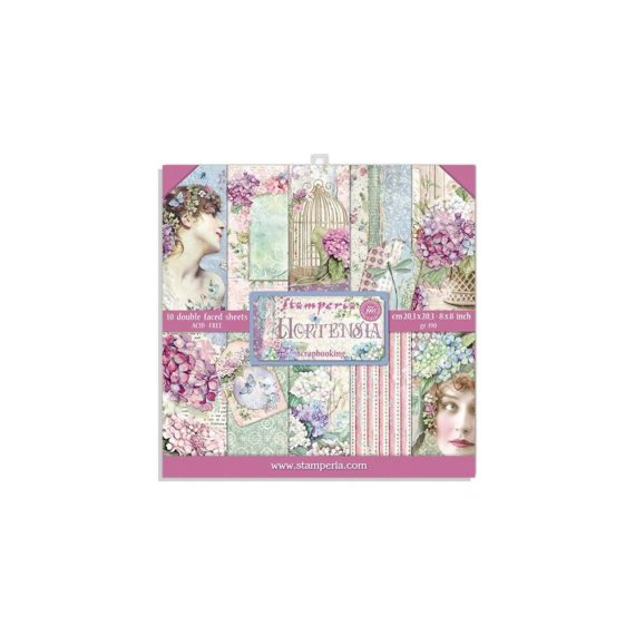 """Stamperia Paper Pad 8"""" x 8"""" - Hortensia"""