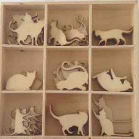 Wooden Embellishments - Cats