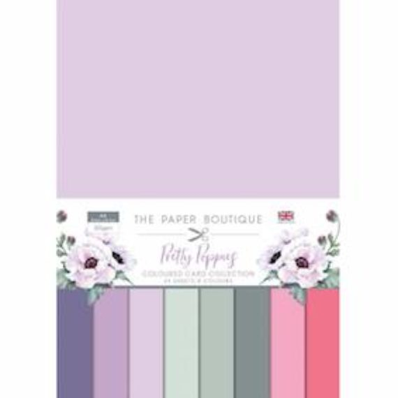 The Paper Boutique - Coloured Card Collection A4 24/Pkg - Pretty Poppies